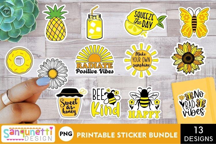 Yellow positive aesthetic sticker bundle