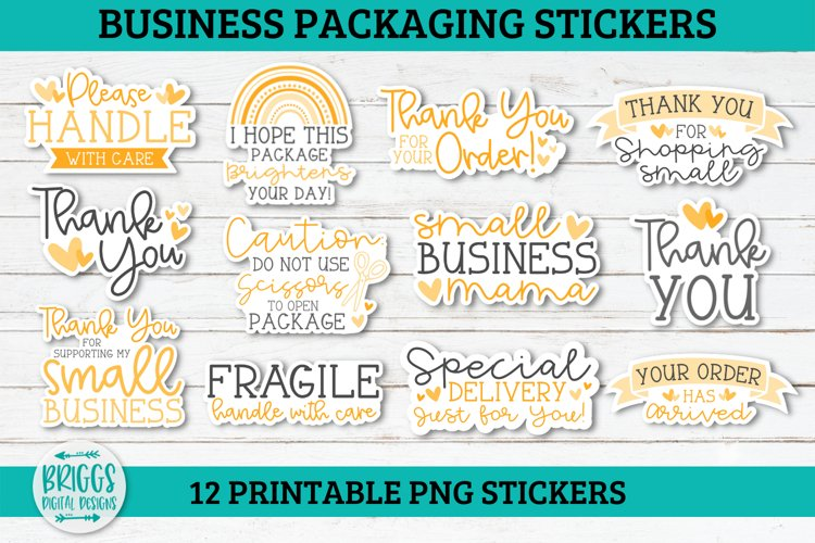 Yellow Business Packaging Sticker Bundle-12 PNG stickers example image 1