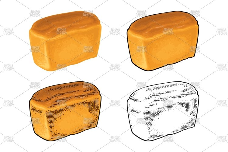 Loaf of bread. Vector color realistic and engraving on the w