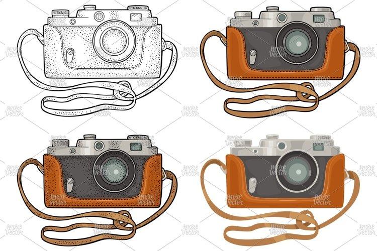 Retro photo camera. Vintage vector color flat and engraving