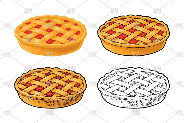 Whole homemade fruit pie Vector color realistic and engrave