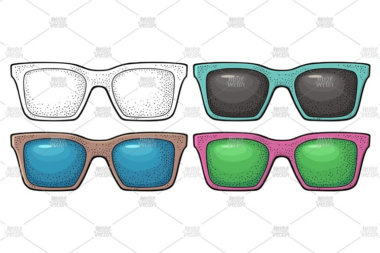 Collection different types sunglasses engraving