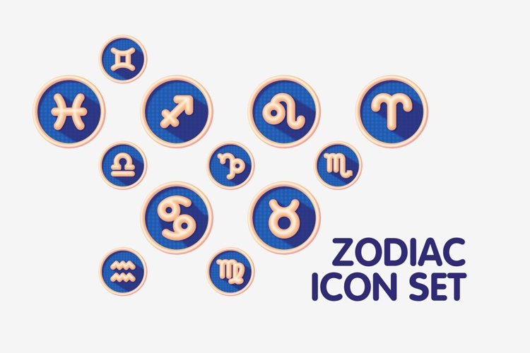 Colourful Zodiac Astrology Signs Icon Set example
