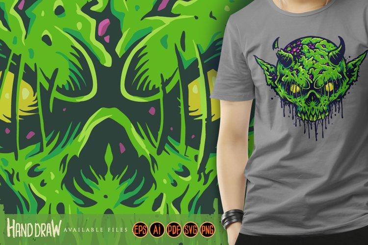 Zombie Skull Head Green Devil Sublimation